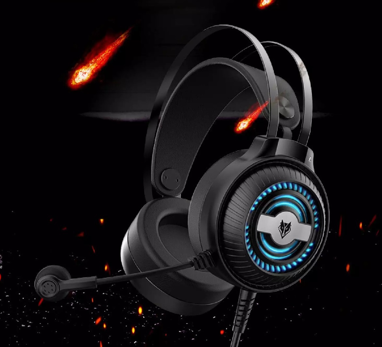 Gaming Headphone headset game dengan mic Noise Cancelling RGB Light LED